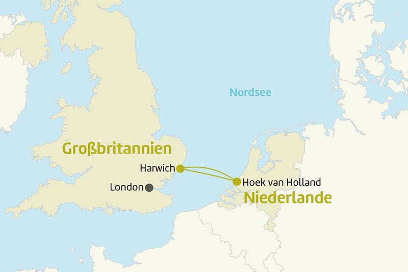 Karte Nordsee Harwich Hoek Niederlande