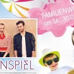 Flyer vom SAT1 Familienwochenende mit Konzert von Glasperlenspiel in der Therme Erding bei München